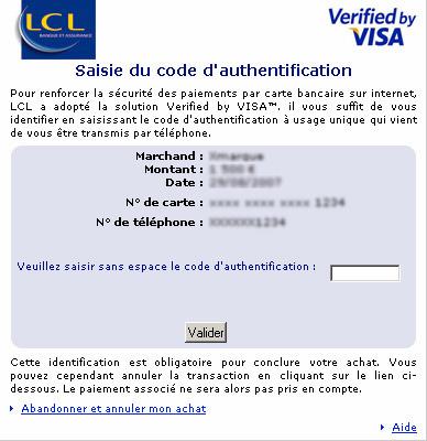 Authentification 3D Secure