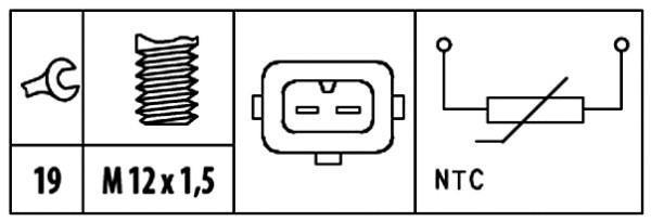 Capteur, température d'huile HELLA 6PT 009 309-511