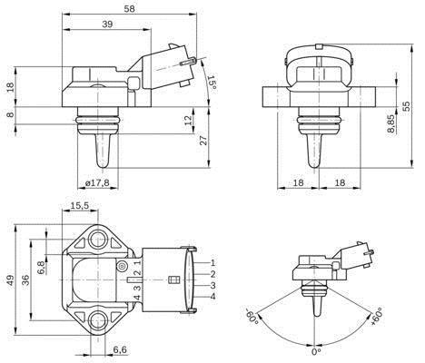 Capteur, pression de suralimentation BOSCH 0 281 002 316