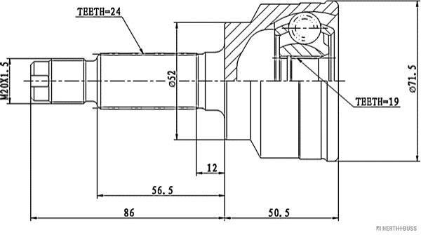 Jeu de joints, arbre de transmissions HERTH+BUSS JAKOPARTS J2823015